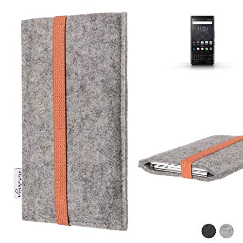flat.design Handy Hülle Coimbra für BlackBerry KEYone Black Edition - Schutz Case Tasche Filz Made in Germany hellgrau orange