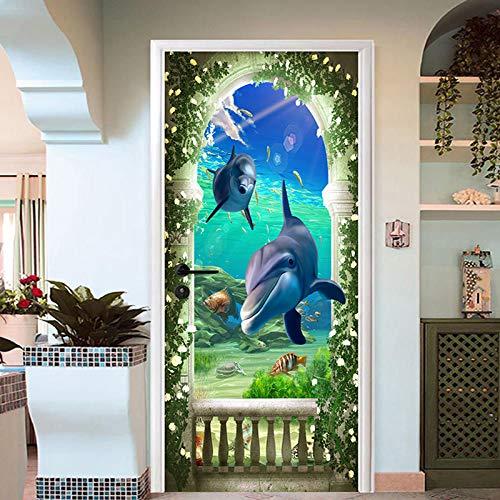 CUISHI 3D Tür Wandbild Aufkleber Unterwasserwelt Tier Delphin 77x200cm PVC Selbstklebende Wasserdichte Abnehmbare Art Decals für Tapete Türposter Türaufkleber Dekoration Esszimmer Wohnkultur Wandtat