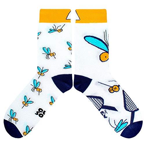 CUP OF SOX Damen Herren Bunte Lustige Socken mit Mücke in der Pappbecher - Gemusterte Geschenk Socken aus Hochwertiger Baumwolle (Weiß, 37-40)