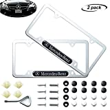 Uninttns 2pack Silver License Plate Frame for Mercedes Benz,Applicable to US Standard Mercedes tag License Frame