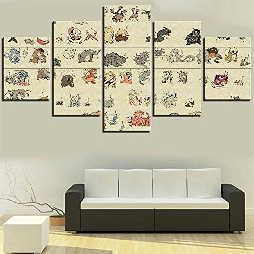 5 pièces monstres magiques peinture toile animaux Animation fonds d'écran affiches Pokemon dessin animé Photos décoration de la maison Art-20x30-20x40-20x50cm