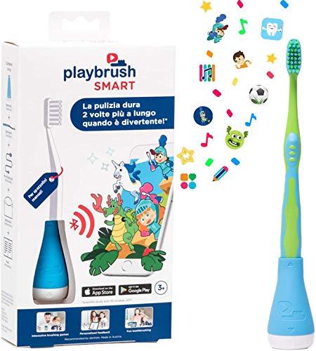 Playbrush Smart - Intelligenter Aufsatz für Kinderzahnbürsten inkl. App zum spielerischen Erlernen der richtigen Zahnpflege, Blau, 1 Stück, inkl. Marken - Zahnbürste und Smartphone - Halterung