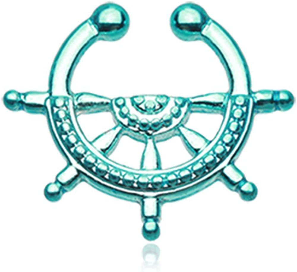 Freedom Fashion Teal Nautical Wheel Superior Fake Ring Max 66% OFF Clip-On Septum