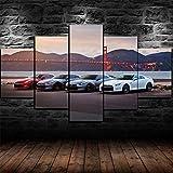 AWER Cuadro en Lienzo 5 Pieza impresión Lienzo artística Pintura Diseño Cuadro Moderno Pared gráfica Cartel de coches deportivos GT-R R35 arte de pared para el hogar decoración Enmarcado
