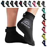 BPS 'Storm Sock' Neoprene Water Socks - with Anti-Slip Sole - Wetsuit Booties for Scuba Diving, Snorkeling, Beach Volleyball, Surfing - Low Cut Dive Socks (Black/Lilac Grey Accent, Medium)
