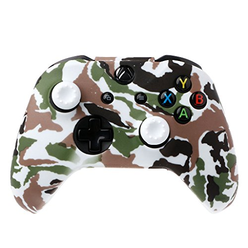 YUZI Funda de silicona para mando de camuflaje + 2 tapas de palanca de mando compatibles con mando Xbox- One X S