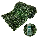 BESAMENATURE 12 Piece Artificial Boxwood Panels, UV Protection High Density Backdrop Hedge for Both Outdoor or Indoor Decoration , 100 pcs Cable Ties Included, Green, 20' L x 20' W