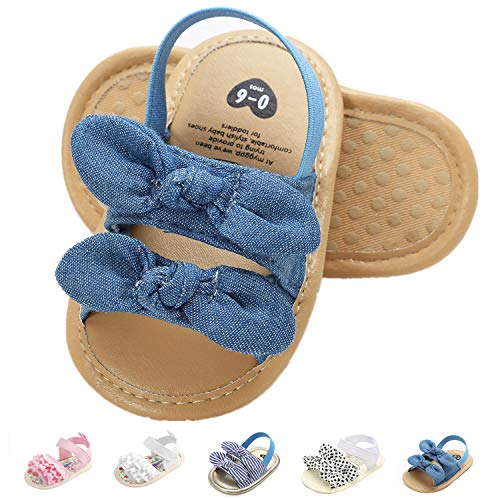 Infant Baby Girls Sandals, Premium Soft Rubber Sole Anti-Slip Summer Toddler Flats First Walkers Shoes Blue