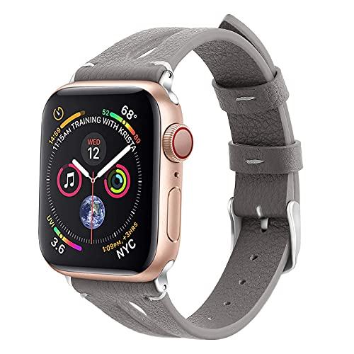 Mersidany Correa de Cuero para Mujer, Correa de Cuero Genuino para Apple Watch Series 6 5 4 3 2 1 SE 38mm 42mm 40mm 44mm (38/40mm,D)