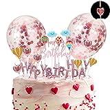 Herefun Or Rose Gâteau Décoration, Joyeux Anniversaire/Étoiles/Ballon à Air/Nuages Ballons Bougies Kit avec Plateau, Confettis Ballon Cake Topper pour Faveur de Fête d'anniversaire