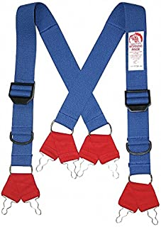 Morning Pride Fire Fighting Pant Suspenders, Blue/Red, Non Flame Resistant Cotton and Elastic Webbing, Long
