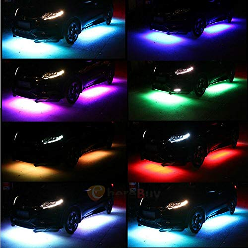 4pcs Car Underglow LED Strip Light, 8 Colors LED Underbody Lights, Under Car Tube System Neon Accent Light Kit with Sound Active and Wireless Remote Control (2x36 & 2x48)