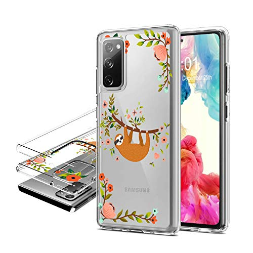 Galaxy S20 FE Case 2020, Clear Galaxy S20 FE 5G Case, Hybrid Dual Layer Back Shell Shockproof TPU+ Hard PC 2 in 1 Phone Case for Samsung Galaxy S20 FE 5G 6.5 inch (Cloth Sloth Floral)