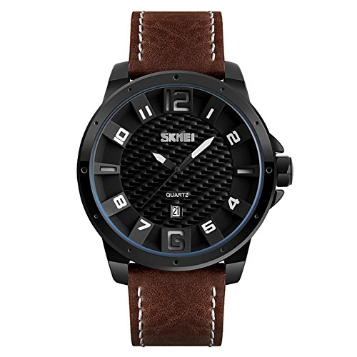 Mens Analog Quartz Watches,Brown Leather Band Waterproof Bussiness Casual Dress Wrist Watch with Date for Men