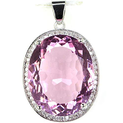 GUANYUA Großer ovaler Edelstein 22x18mm Pink Womans Silberanhänger 25x20mm