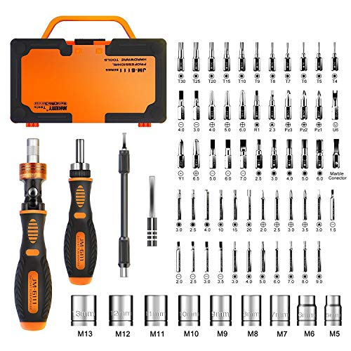 Jakemy Home Rotatable Ratchet Screwdriver Set, 69 in 1 Household...