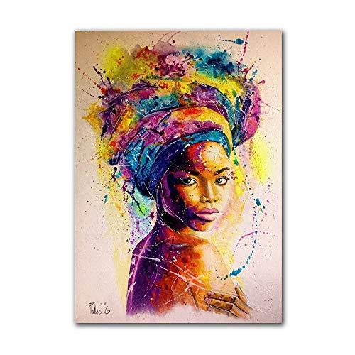 Modern Canvas Schilderij Afrika Vrouwen Gedrukte Posters Abstract Meisje Portret Olieverfschilderij Kleurrijke Kunst Aan De Muur Schilderen Voor De Woonkamer 50 * 75cm