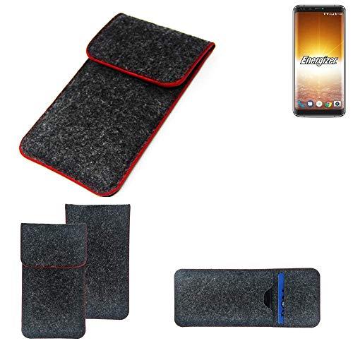 K-S-Trade Handy Schutz Hülle Für Energizer P600S Schutzhülle Handyhülle Filztasche Pouch Tasche Hülle Sleeve Filzhülle Dunkelgrau Roter Rand