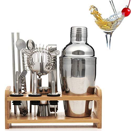 Lychee Profesional Coctelera de Cóctel 12 Piezas, Premium Coctelera Set de Acero Inoxidable, con Soporte de Exhibición de Madera,Regalo Elegante (350ML)