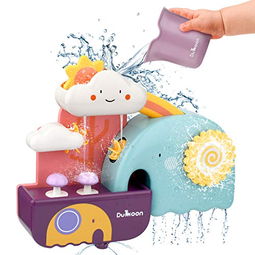 Enllonish Baby Bath Learning Toy, Fun Simple Physics Educational Bathtub Water Toy for 1, 2, 3+ Year Old Boys Girls Toddlers, Safe Colourful Skin Friendly Waterwheel Bathing Toy