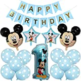 Mickey Themed Geburtstag Dekorationen, BESTZY Mickey Luftballons mit Happy Birthday Banner Folienballons für Mickey Themenparty