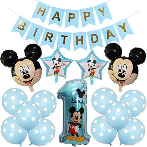 Mickey Mouse Themed Geburtstag Dekorationen, BESTZY Mickey Luftballons mit Happy Birthday Banner Folienballons für Mickey Mouse Themenparty