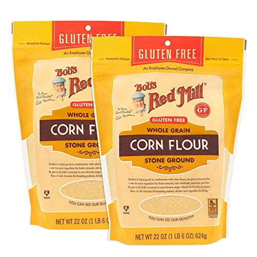 Bob's Red Mill Certified Gluten Free Stoned Ground Whole Grain Corn Flour - 100% Vegan, Kosher Pareve. Perfect for bread and muffins. 22 OZ Pack of 2.
