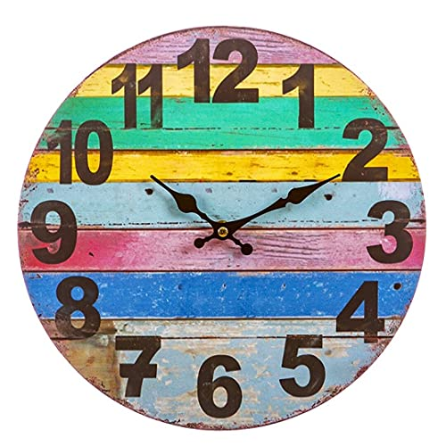 Reloj Pared Vintage Redondo, de Madera, silencioso, Relojes de Cocina de Pared de 30X30 cm