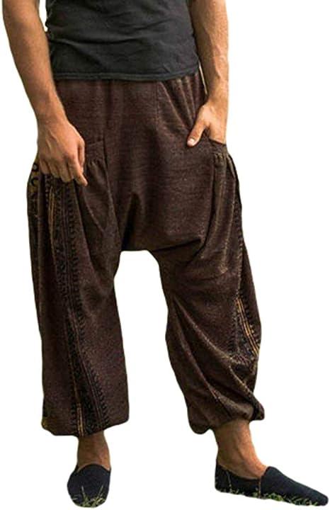 Holywim Pantalon /à Entrejambe de Couleur Unie pour Femmes Pantalon Sarouel Mode D/écontract/ée