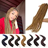 SEGO Box Braid Crochet Hair 24 Inch Crochet Hair Box Braids 3X Synthetic Braiding Hair Extensions Braided Crochet Hair for Women 24 Strands/Pack(7 Packs 27#)