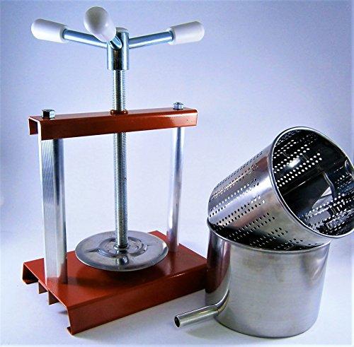 AlcoFermBrew Käsepresse 5,9 Liter und Presskorb 4,3L (Käseform) - Obstpresse, Weinpresse, Saftpresse, Fruchtpresse