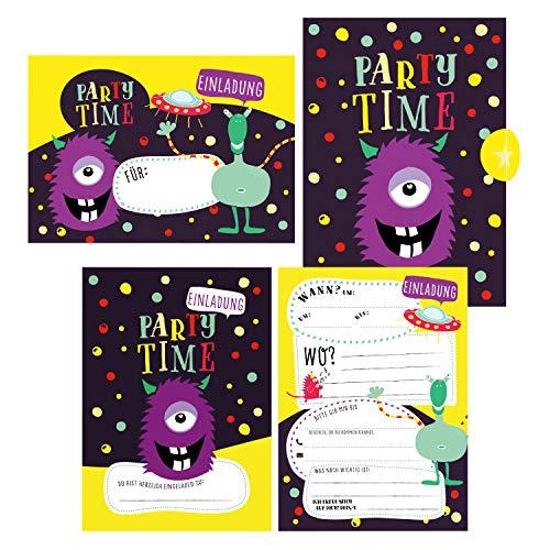 12 Monster Einladungskarten zum Geburtstag oder Party für Jungen und Mädchen inkl. Umschläge |: Coole Geburtstagseinladungen Monster für Kinder | ... ... jeden Anlass, Kindergeburtstag, Alien Party