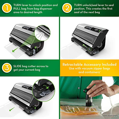 FoodSaver FM5200 2-in-1 Automatic Vacuum Sealer Machine with Express Bag Maker | Safety Certified | Silver