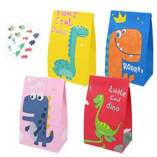 Flintronic 20 Pezzi Sacchetti Regalo di Carta, Dinosauro Caramella Sacchetto con Adesivo Dinosaur per Bambini Feste di Compleanno/Matrimoni/Mercati/Negozi(13 x 8 x24cm)