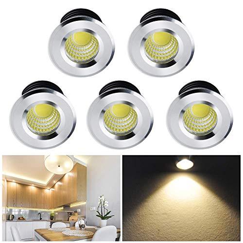 Mini Klein Einbaustrahler LED Set 5er, Audor 3W LED Deckenstrahler COB Deckenspots Einbauleuchte Aluminium Spots LED Set Warmweiß für Weinschrank/Schrank/Küche/Wohnzimmer[Energieklasse A++]