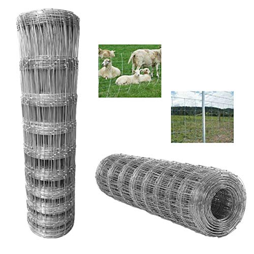 L8/80/15 Valla de alambre de 50 m de largo 80 cm de alto galvanizado en caliente para cerdo, oveja, ciervo, vaca y caballo