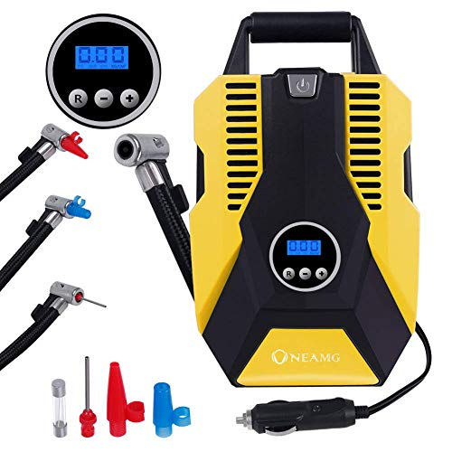 OneAmg Tyre Inflator Air Compressor Digital 12V Car Tyre Pump with LCD Screen Portable Car Air Pump 150 PSI with 2.8 Metre Power Line for Car, Bike, Motorcycle, Ball