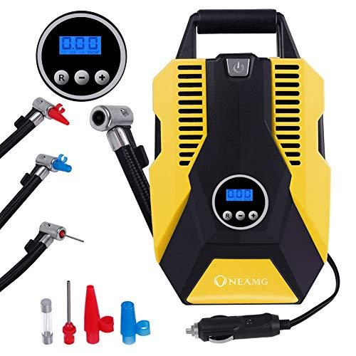 Compresor de Aire Eléctrico Portátil Bomba de aire Eléctrico Hinchador Portátil Alimentado con Manómetro 12V con LED Luces de Emergencia para Hinchar Neumático de Moto Coche y Bicicleta (Yellow)