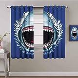 LucaSng Cortinas de Opacas - Azul tiburón Dibujos Animados Animal - 183x160 cm - para Sala Cuarto Comedor Salon Cocina Habitación - 3D Impresión Digital con Ojales Aislamiento Térmico Cortinas
