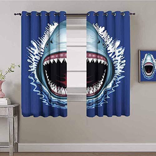 LucaSng Cortinas de Opacas - Azul tiburón Dibujos Animados Animal - 160x160 cm - para Sala Cuarto Comedor Salon Cocina Habitación - 3D Impresión Digital con Ojales Aislamiento Térmico Cortinas