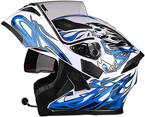 Casco modular de motocicleta con Bluetooth, para mujeres y hombres, con doble visera, anti niebla, para carreras de crash, casco integrado con Bluetooth, color blanco, XXL