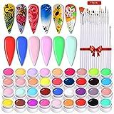 Esmaltes de Uñas, 36 Colores DIY Esmaltes Semipermanentes de Uñas Esmaltes en Gel Uñas UV LED de Pigmento Vistosa Set de Regalo Trae un Juego de 15 Pinceles (Blanco)