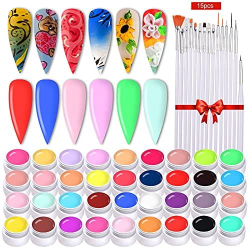 36 Colori Gel Colorati Unghie, Anself Gel Smalto per Unghie con 15 Pennelli per Unghie, UV Kit Gel Unghie per Salone