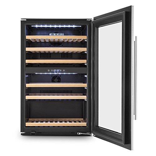 KLARSTEIN Vinsider 35D - Cave à vin, Réfrigérateur à Boissons, 128 litres, 41 Bouteilles, 6 étagères en Bois, 2 Zones, Porte en Acier INOX, Écran LCD, Éclairage intérieur LED, Noir-Argent