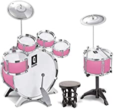 iMeshbean Drum Set – 5/6 Drums, Cymbal, Chair, Kick Pedal, 2 Drumsticks, Stool – Little Rockstar Kit, Gift Toy for Teens, Boys & Girls (Pink 6 Drums)