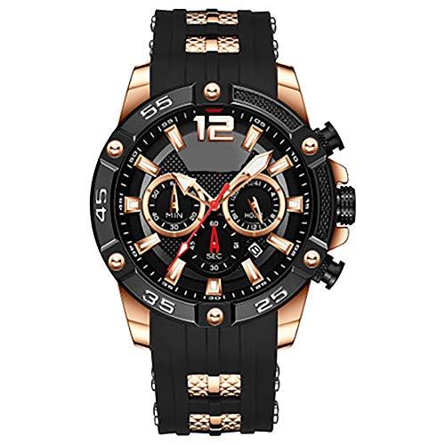 GBHN multifunctioneel horloge sport herenhorloge waterdicht, kwartshorloge siliconen band herenhorloge met 3 kleine wijzerplaten verstelbare kalender, size, BlueStormB.
