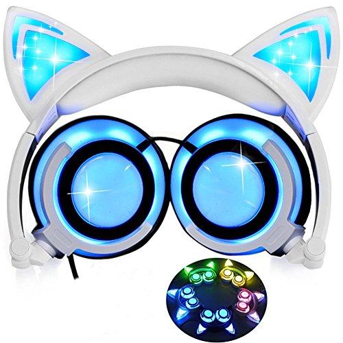 Cuffie Orecchie di Gatto con D'ardore, Pieghevole Ricaricabile Cablate Auricolari per Computer Portatile,Smartphone,MP3 (Bianco)