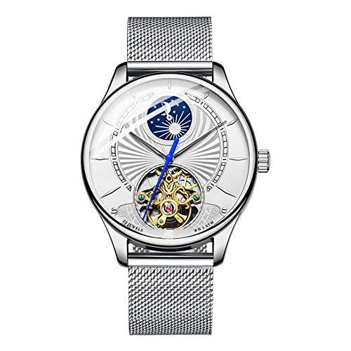 Heren Horloges, Automatische Hollow Mechanische Waterdicht Horloge, Dag En Nacht Stars Series Mannen Male Horloges for Business Casual, Zilver
