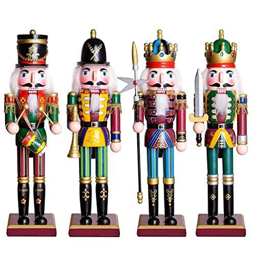 WOD 4Pcs Cascanueces De Navidad 30CM Adorno Cascanueces De Madera Rey Y Soldado Juego De Exhibición De Estatuillas para Decoraciones Navideñas Oficina En Casa Muñeca De Escritorio Marioneta