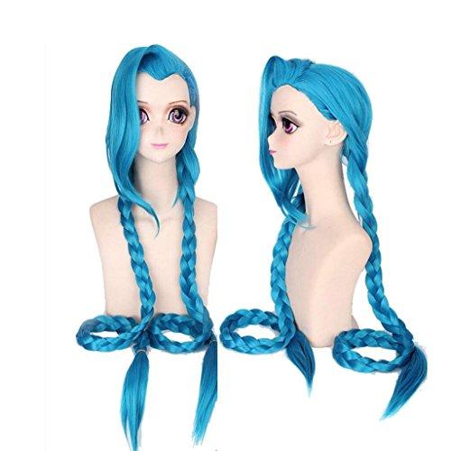 Ani·Lnc Anime Cosplay Perücke lange blaue geflochtene Kunsthaar